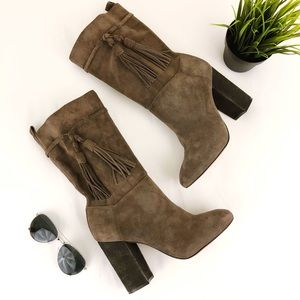 VINCE CAMUTO Fermel Slouch Suede Tassel Boot 10